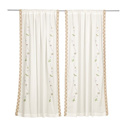 VANDRING Pair of curtains IKEA Embroidered motifs.  Ready to hang.   Hidden tabs at top and hemmed bottom edge.