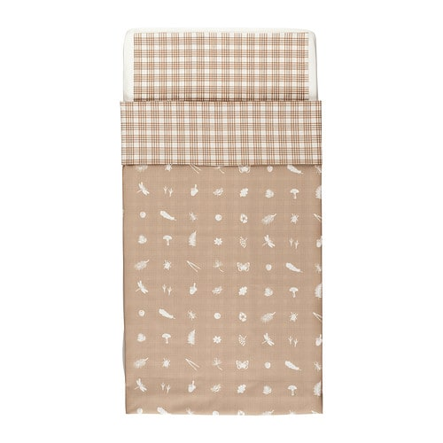 VANDRING SKOG Crib duvet cover/pillowcase IKEA Cotton is soft and feels nice against your child's skin.