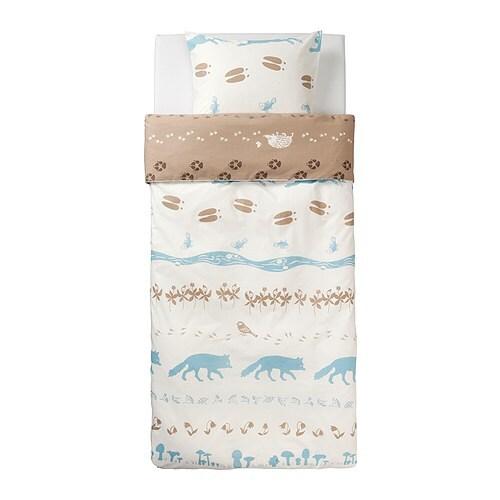 VANDRING SKOGSLIV Duvet cover and pillowcase(s) , beige, blue Duvet cover length: 86