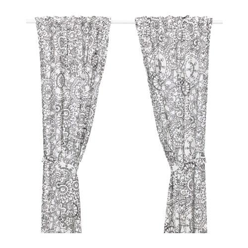 VÄNSKAPLIG Curtains with tie-backs, 1 pair, black black 47x98