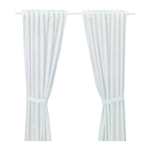 VÄNSKAPLIG Curtains with tie-backs, 1 pair, turquoise turquoise 47x98