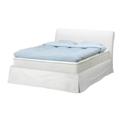 "VANVIK Bed frame, Blekinge white Length: 94 1/8 "" Width: 63 3/8 "" Footboard height: 14 5/8 "" Headboard height: 42 1/2 "" Mattress length: 79 1/2 "" Mattress width: 59 7/8 ""  Length: 239 cm Width: 161 cm Footboard height: 37 cm Headboard height: 108 cm Mattress length: 202 cm Mattress width: 152 cm"