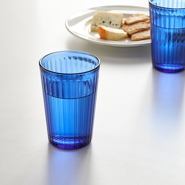 VARDAGEN Glass, blue, 10 oz