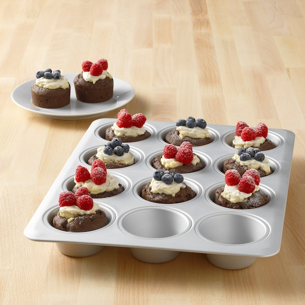 """VARDAGEN Muffin pan, silver color, 15x11 """""""