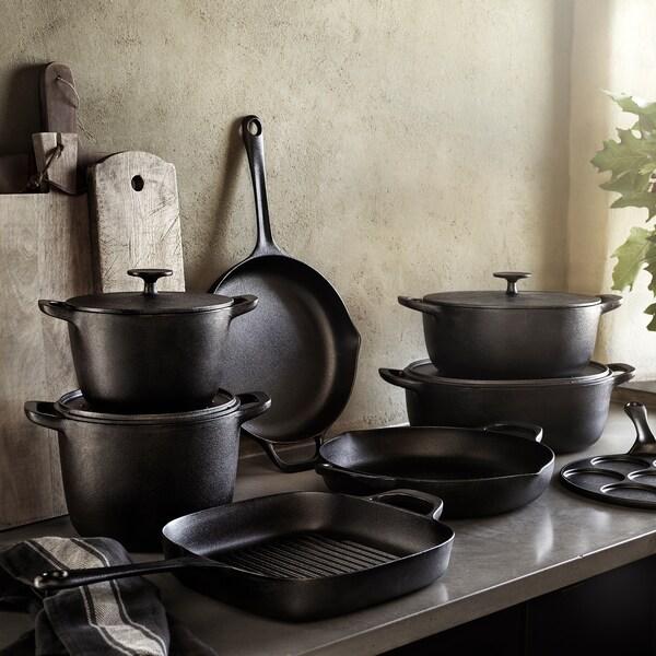 VARDAGEN Pot with lid, cast iron, 5.3 qt