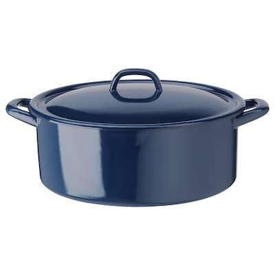 VARDAGEN Pot with lid, enamelled steel, 5.3 qt