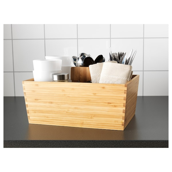 VARIERA Box with handle, bamboo, 13x9 ½ ""