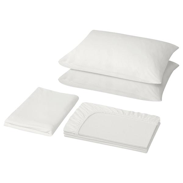 VÅRVIAL 4-piece sheet set, white, Queen