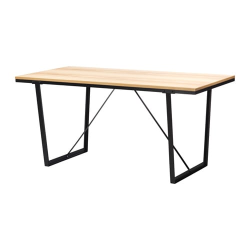VÄSSAD Table, black, ash veneer