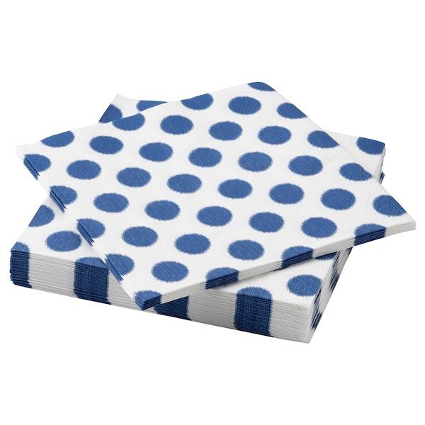 "VATTENDANS Paper napkin, dotted/blue, 13x13 """