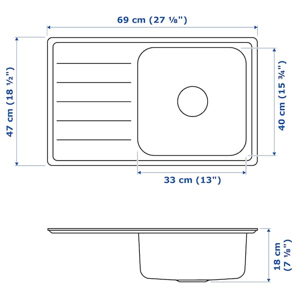 "VATTUDALEN single bowl top mount sink stainless steel 7 1/8 "" 13 "" 15 3/4 "" 17 3/4 "" 26 3/8 "" 18 1/2 "" 27 1/8 "" 27 1/8 "" 18 1/2 "" 6 gallon"