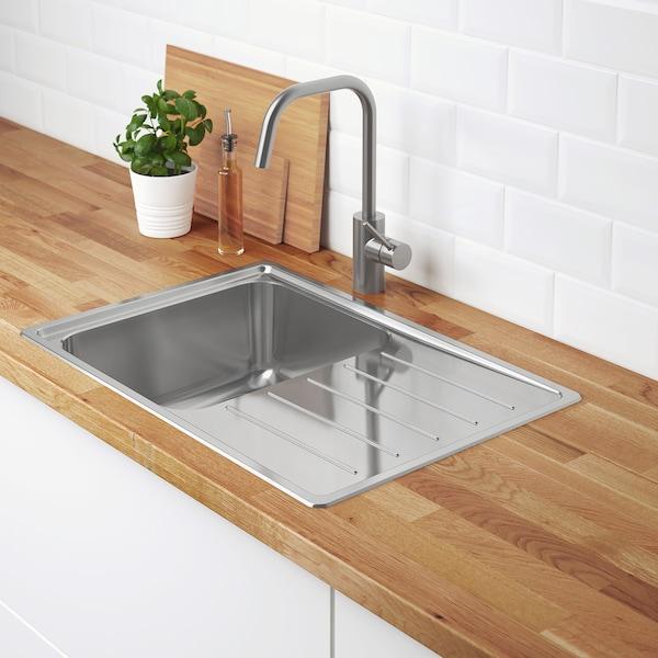 Vattudalen Single Bowl Top Mount Sink Stainless Steel Ikea
