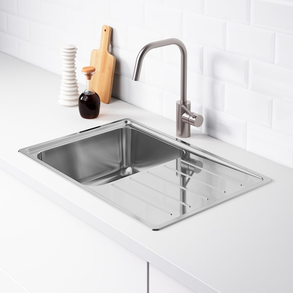 Vattudalen Single Bowl Top Mount Sink Stainless Steel Ikea