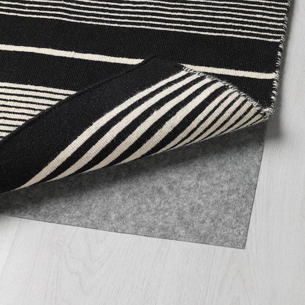 Rug Flatwoven Black White Stripe