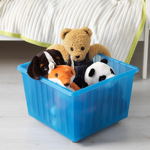 VESSLA Storage crate with casters, blue, 15 ¼x15 ¼ ""