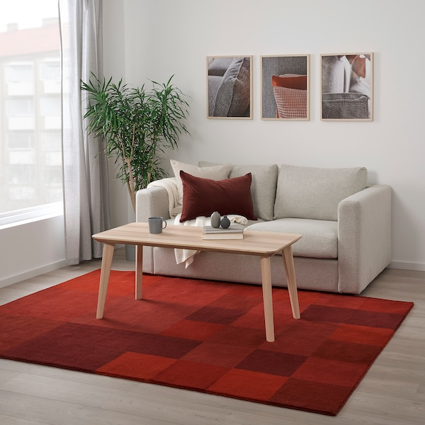 "VESTERBORG Rug, low pile, handmade red, 5 ' 7 ""x7 ' 10 """