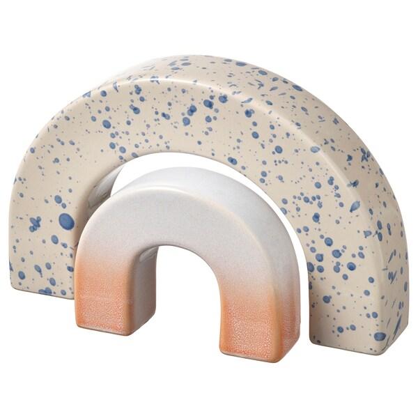 VIDSTRÄCKT Decoration, set of 2, rainbow patterned/blue pink