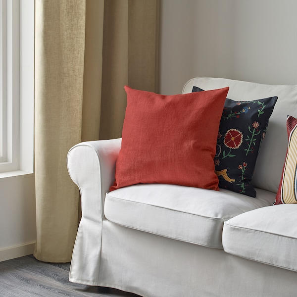 VIGDIS Cushion cover, red-orange, 20x20 ""