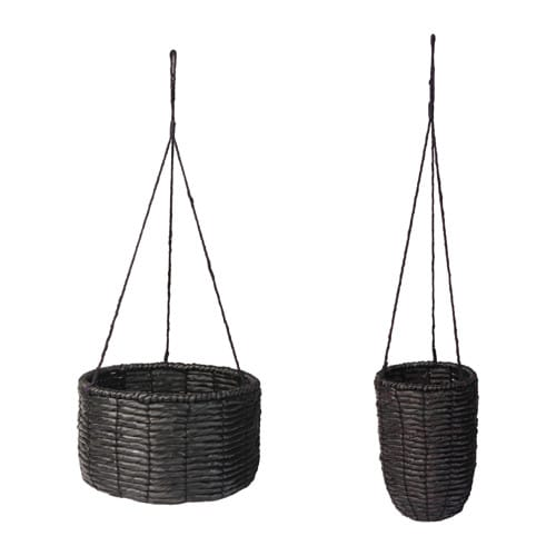 Viktigt hanging planter set of 2 ikea for Black planters ikea