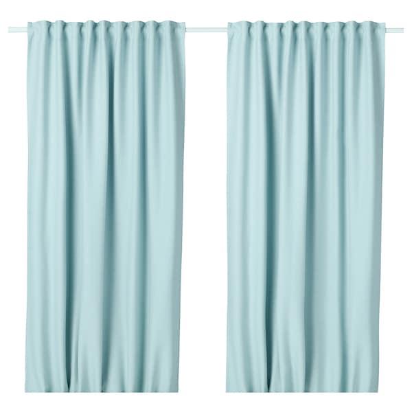 Room Darkening Curtains 1 Pair Vilborg White Turquoise