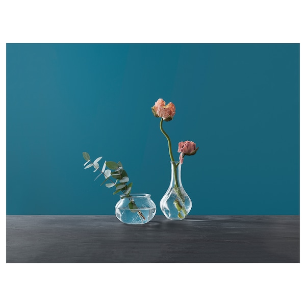 "VILJESTARK Vase, clear glass, 6 ¾ """