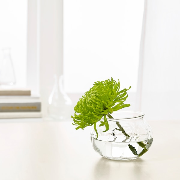 "VILJESTARK Vase, clear glass, 3 ¼ """