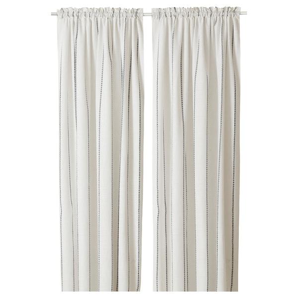 "VILMIE LINJE Curtains, 1 pair, white/dark gray, 57x98 """