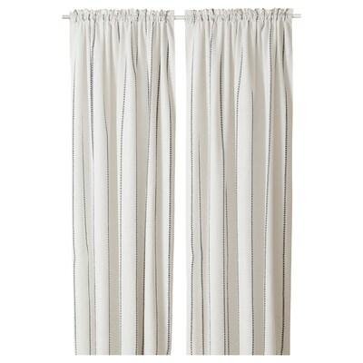 "VILMIE LINJE curtains, 1 pair white/dark gray 98 "" 57 """
