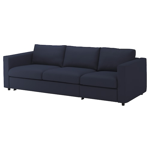 "VIMLE sleeper sofa Orrsta black-blue 20 7/8 "" 32 5/8 "" 26 3/4 "" 107 7/8 "" 38 5/8 "" 95 5/8 "" 21 5/8 "" 18 7/8 "" 59 7/8 "" 79 1/2 "" 4 3/4 """