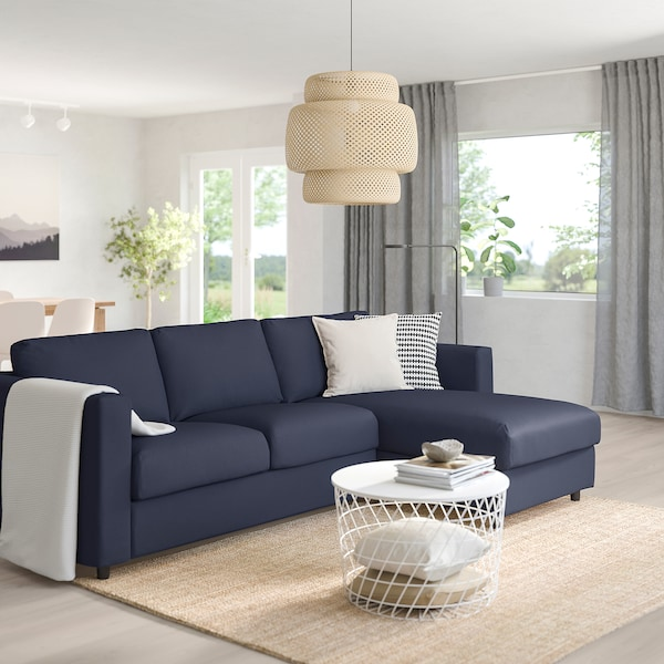 "VIMLE sleeper sofa with chaise/Orrsta black-blue 20 7/8 "" 32 5/8 "" 26 3/4 "" 64 5/8 "" 111 3/4 "" 38 5/8 "" 95 5/8 "" 49 1/4 "" 100 "" 21 5/8 "" 18 7/8 "" 59 7/8 "" 79 1/2 "" 4 3/4 """