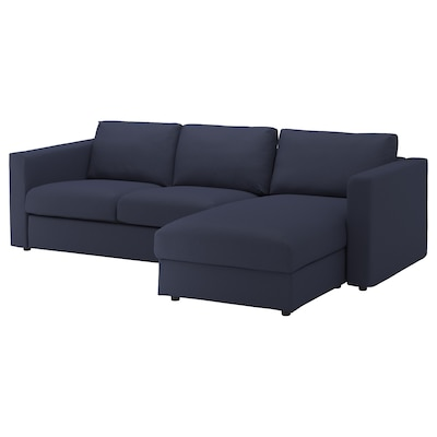 "VIMLE sofa with chaise/Orrsta black-blue 32 5/8 "" 26 3/4 "" 64 5/8 "" 99 1/4 "" 38 5/8 "" 49 1/4 "" 2 3/8 "" 5 7/8 "" 26 3/4 "" 87 3/8 "" 21 5/8 "" 18 7/8 """