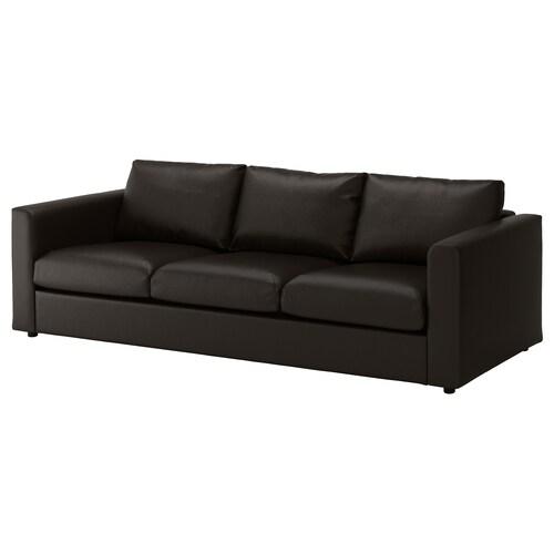 """VIMLE sofa Farsta black 31 1/2 """" 94 7/8 """" 38 5/8 """" 1 5/8 """" 5 7/8 """" 25 5/8 """" 83 1/8 """" 21 5/8 """" 17 3/4 """""""