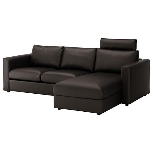 "VIMLE sofa with chaise with headrest/Farsta black 39 3/8 "" 31 1/2 "" 64 5/8 "" 99 1/4 "" 38 5/8 "" 49 1/4 "" 1 5/8 "" 5 7/8 "" 25 5/8 "" 87 3/8 "" 21 5/8 "" 17 3/4 """