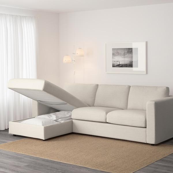 "VIMLE sofa with chaise/Gunnared beige 32 5/8 "" 26 3/4 "" 64 5/8 "" 99 1/4 "" 38 5/8 "" 49 1/4 "" 2 3/8 "" 5 7/8 "" 26 3/4 "" 87 3/8 "" 21 5/8 "" 18 7/8 """