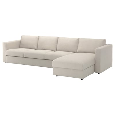 "VIMLE sectional, 4-seat with chaise/Gunnared beige 32 5/8 "" 26 3/4 "" 64 5/8 "" 126 3/4 "" 38 5/8 "" 49 1/4 "" 2 3/8 "" 5 7/8 "" 26 3/4 "" 115 "" 21 5/8 "" 18 7/8 """