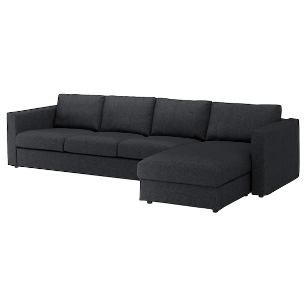 "VIMLE sectional, 4-seat with chaise/Tallmyra black/gray 32 5/8 "" 26 3/4 "" 64 5/8 "" 126 3/4 "" 38 5/8 "" 49 1/4 "" 2 3/8 "" 5 7/8 "" 26 3/4 "" 115 "" 21 5/8 "" 18 7/8 """