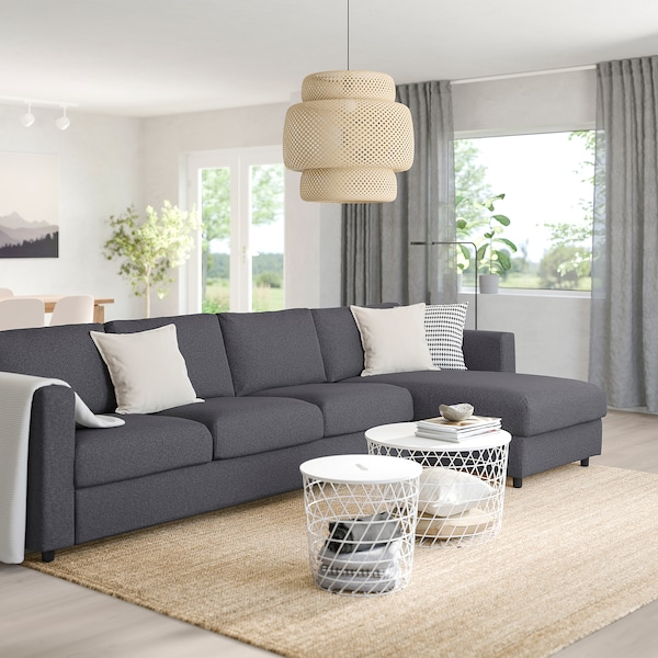 """VIMLE sectional, 4-seat with chaise/Gunnared medium gray 32 5/8 """" 26 3/4 """" 64 5/8 """" 126 3/4 """" 38 5/8 """" 49 1/4 """" 2 3/8 """" 5 7/8 """" 26 3/4 """" 115 """" 21 5/8 """" 18 7/8 """""""