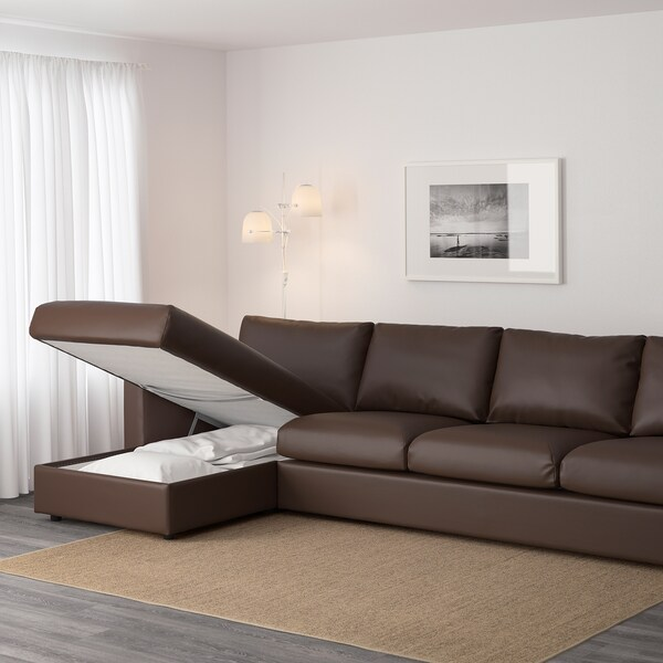 """VIMLE sectional, 4-seat with chaise/Farsta dark brown 31 1/2 """" 64 5/8 """" 126 3/4 """" 38 5/8 """" 49 1/4 """" 1 5/8 """" 5 7/8 """" 25 5/8 """" 115 """" 21 5/8 """" 17 3/4 """""""