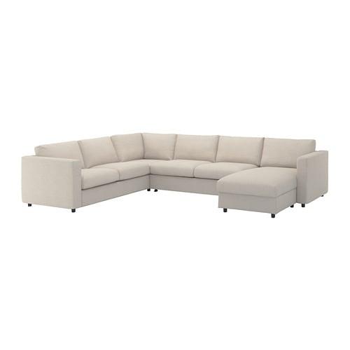 VIMLE Corner sleeper sofa, 5-seat, with chaise, Gunnared beige