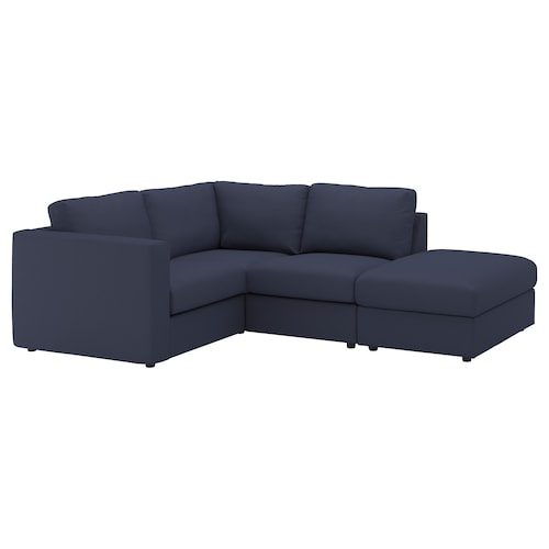 "VIMLE sectional, 3-seat corner with open end/Orrsta black-blue 32 5/8 "" 26 3/4 "" 38 5/8 "" 92 1/2 "" 76 3/4 "" 48 "" 70 1/2 "" 2 3/8 "" 5 7/8 "" 26 3/4 "" 21 5/8 "" 18 7/8 """