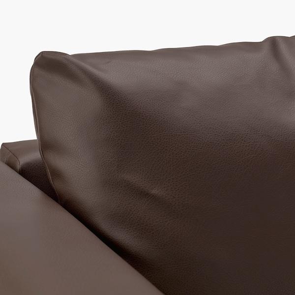 "VIMLE sectional, 3-seat corner with open end/Farsta dark brown 31 1/2 "" 38 5/8 "" 92 1/2 "" 76 3/4 "" 48 "" 70 1/2 "" 1 5/8 "" 5 7/8 "" 25 5/8 "" 21 5/8 "" 17 3/4 """