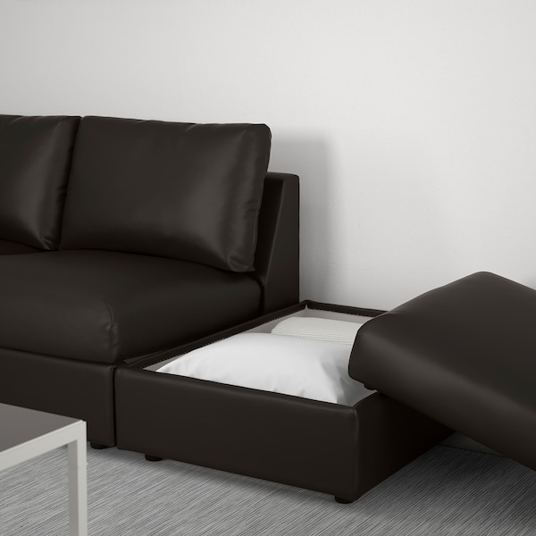 "VIMLE sectional, 3-seat corner with open end/Farsta black 31 1/2 "" 38 5/8 "" 92 1/2 "" 76 3/4 "" 48 "" 70 1/2 "" 1 5/8 "" 5 7/8 "" 25 5/8 "" 21 5/8 "" 17 3/4 """