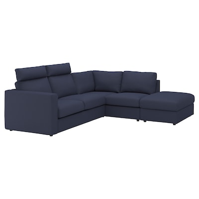 """VIMLE sectional, 4-seat corner with open end with headrests/Orrsta black-blue 40 1/2 """" 32 5/8 """" 26 3/4 """" 38 5/8 """" 92 1/2 """" 76 3/4 """" 75 5/8 """" 98 """" 2 3/8 """" 5 7/8 """" 26 3/4 """" 21 5/8 """" 18 7/8 """""""