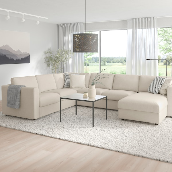 """VIMLE sectional, 5-seat corner with chaise/Gunnared beige 32 5/8 """" 26 3/4 """" 64 5/8 """" 38 5/8 """" 49 1/4 """" 98 """" 75 5/8 """" 107 1/2 """" 129 7/8 """" 2 3/8 """" 5 7/8 """" 26 3/4 """" 21 5/8 """" 18 7/8 """""""