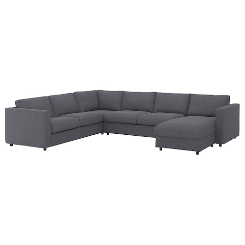 "VIMLE corner sleeper sofa, 5-seat with chaise/Gunnared medium gray 20 7/8 "" 32 5/8 "" 26 3/4 "" 38 5/8 "" 95 5/8 "" 142 1/2 "" 98 "" 21 5/8 "" 18 7/8 "" 59 7/8 "" 79 1/2 "" 4 3/4 """