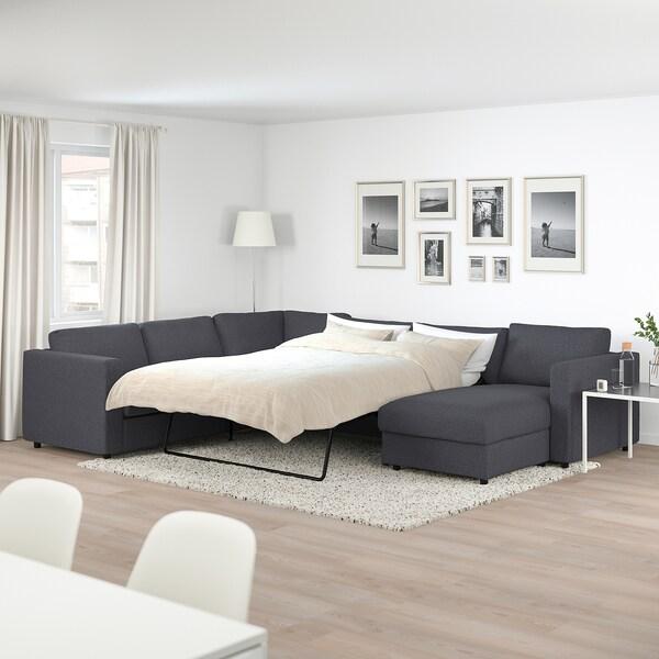 """VIMLE corner sleeper sofa, 5-seat with chaise/Gunnared medium gray 20 7/8 """" 32 5/8 """" 26 3/4 """" 38 5/8 """" 95 5/8 """" 142 1/2 """" 98 """" 21 5/8 """" 18 7/8 """" 59 7/8 """" 79 1/2 """" 4 3/4 """""""