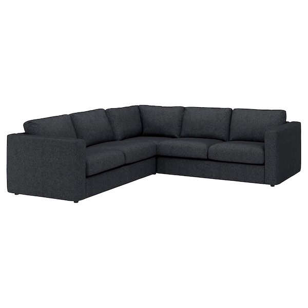 """VIMLE cover for sectional, 4-seat Tallmyra black/gray 31 1/2 """" 38 5/8 """" 98 """" 75 5/8 """" 75 5/8 """" 98 """" 1 5/8 """" 5 7/8 """" 25 5/8 """" 21 5/8 """" 17 3/4 """""""