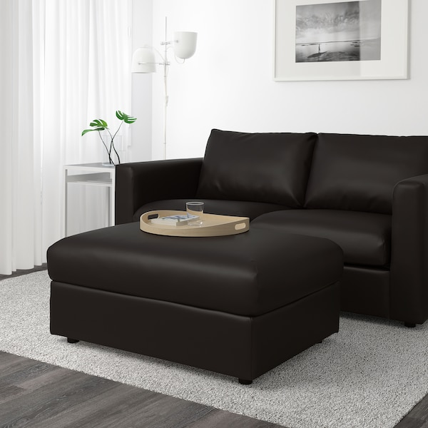 "VIMLE ottoman with storage Farsta black 38 5/8 "" 28 3/4 "" 17 3/4 "" 28 gallon"