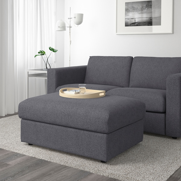 Awesome Ottoman With Storage Vimle Gunnared Medium Gray Caraccident5 Cool Chair Designs And Ideas Caraccident5Info