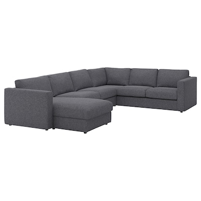 """VIMLE sectional, 5-seat corner with chaise/Gunnared medium gray 32 5/8 """" 26 3/4 """" 64 5/8 """" 38 5/8 """" 49 1/4 """" 98 """" 75 5/8 """" 107 1/2 """" 129 7/8 """" 2 3/8 """" 5 7/8 """" 26 3/4 """" 21 5/8 """" 18 7/8 """""""